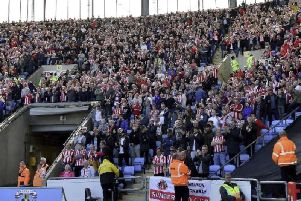 Sunderland fans inside the Ricoh Arena ahead of the trouble when the match ended