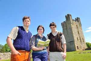 Three apprentices from the  North York Moors National Park preparing to leave Helmsley Castle to wal to Rievaulx  on the Cleveland Way  for the 5oth anniversary event. From left: Archie Lam, April Wimmer and Mathew Craggs.