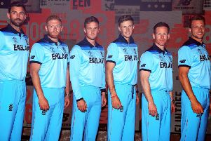 Kitted out: England's, from lef, Liam Plunkett, Jonny Bairstow, Jason Roy, Joe Root, Eoin Morgan and Jos Buttler.