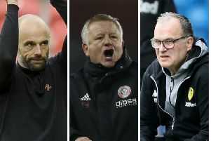 CONTRASTING FORTUNES: Rotherham's Paul Warne, left, Sheffield United's Chris Wilder and Leeds United's Marcelo Bielsa.