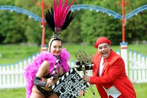Circus showgirl Dasha with Angelo the clown. Picture: Gerard Binks.