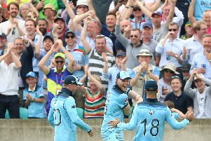 Got him: England's Ben Stokes celebrates his stunning catch off South Africa's Andile Phehlukwayo.