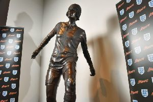 The statue of Lily Parr. The UK's first ever statue of a female footballer commissioned by Mars has been unveiled at the National Football Museum, Manchester