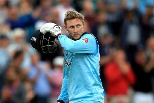 England's Joe Root shows his disappointment after being dismissed against Pakistan at Trent Bridge. Picture: Simon Cooper/PA