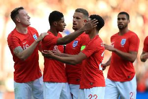 England's players celebrate Marcus Rashford's goal against Costa Rica at Elland Road last year. Picture: Mike Egerton/PA
