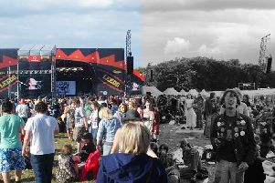 Leeds Festival in 2010, left, and in the 1980s, right. Picture created for River Island festival style research