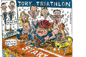 Today's cartoon by Graeme Bandeira on the Tory leadership - and triathlon.