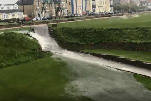 Footage shows the flooding at Seaham's Bessie's Hole. Video by Seaham Coastguard