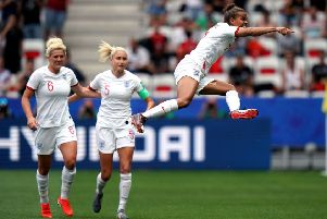 England's Nikita Parris leaps with joy after putting the Lionesses in front against Scotland from the penalty spot (Picture: John Walton/PA Wire).