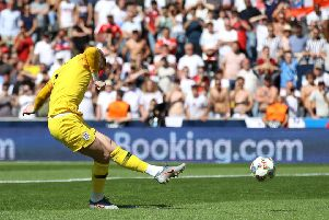 England goalkeeper Jordan Pickford scores a penalty during the shootout in Guimaraes. Picture: Tim Goode/PA