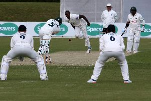 Notts batsman Steven Mullaney drives Hampshire's Keith Barker during a dry spell on day one.