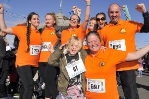 Rev. Linda Tomkinson (front) and her flock from the Freedom Church, Mereside, at last year's Blackpool Music Run