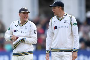 FRUSTRATION: Yorkshire captain Steve Patterson, right, with Gary Ballance. Picture: Gareth Copley/Getty Images