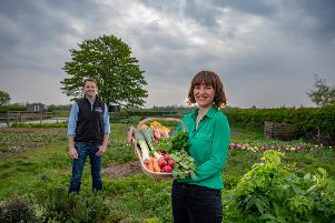 Date: 1st May 2019.'Picture James Hardisty.'YP Magazine....'Ben and Emma Mosey, owners of Minskip Farm Shop Minskip Road, Boroughbridge, York.