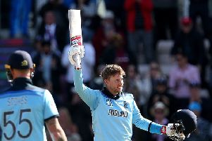 England's Joe Root celebrates reaching a century in the World Cup group stage win over the West Indies at the Hampshire Bowl, Southampton (Picture: Steven Paston/PA Wire).