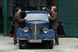 The Jowett 10 arrives at Bradford Industrial Mueum, with the help of the Jowett Car Club's Chris Spencer and Paul Beaumont.' 'Picture: Jonathan Gawthorpe