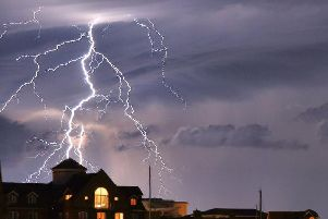 An incredible lightning strike captured in Eastbourne. Photo: Mark Jarvis/Twitter/PA Wire