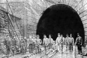 Navvies at the south entrance of the Bramhope Tunnel