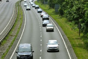 060717 Traffic on the   A64  approaching the Hopgrove junction on the outskirts of York