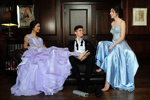 Hannah Slater, left, wears lilac ruffle ball gown with rhinestone waistband, from �299, Eternity Prom by Eternity Bridal. Harvey Ashford wears: The Britannia tuxedo, �130; Britannia trousers, �69; shirt, 325; bow tie, �10. All at Johnny Tuxedo. Millie Slater wears sweetheart strapless with rhinestone beaded bodice, from �299, Eternity Prom for Eternity Bridal. At Bowcliffe Hall, Bramham. Picture by Simon Hulme; Styling by Stephanie Smith Hair: Stephanie Fielding and Maria Ricketts at Russell Eaton Hair; Make-up: Ash Fehners, at www.ashfehnersmakeup.format.com/Leeds and Instagram: @ashfehners and @ashfehnersbridalmakeup