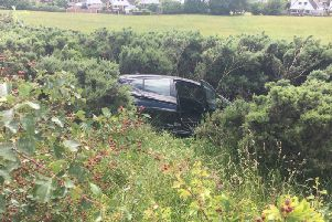 The car veered off the carriageway.