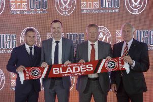 Sheffield United's Kevin McCabe, Billy Sharp and Chris Wilder with USG's Shay Zakhaim at Bramall Lane to reveal the Blades' new shirt sponsor. Picture: Scott Merrylees