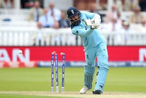 GOT HIM: England's James Vince is bowled for a duck by Australia's Jason Behrendorff at Lord's as the World Cup hosts suffered a 64-run defeat, leaving their qualification hopes haning in the balance. Picture: Tim Goode/PA.