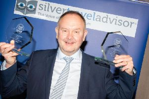 Shearings digital director, Neil Hardy, is pictured with the awards.