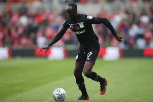 MIDDLESBROUGH, ENGLAND - MAY 12:  Albert Adomah of Aston Villa runs with the ball during the Sky Bet Championship Play Off Semi Final:First Leg match between Middlesbrough and Aston Villa at Riverside Stadium on May 12, 2018 in Middlesbrough, England.  (Photo by Alex Livesey/Getty Images)