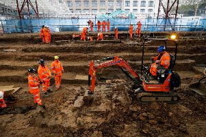 Excavation work continues on the HS2 site at London's Euston Station.