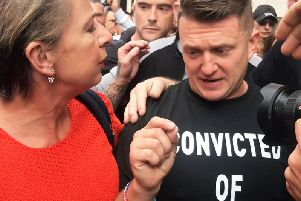 Stephen Yaxley-Lennon, better known as Tommy Robinson, outside the Old Bailey (PA).