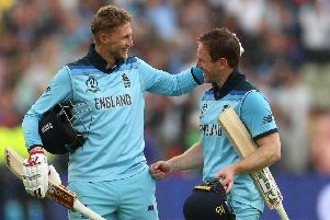 England's Joe Root (left) and Eoin Morgan celebrate victory against Australia at Edgbaston. Picture: Nigel French/PA