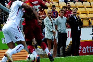 Stephen Darby is pictured with his wife England captain Steph Houghton at Valley Parade.