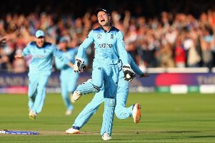 Jos Buttler starts the celebrations for England after beating New Zealand in the World Cup Final at Lord's. Picture: Michael Steele/Getty Images