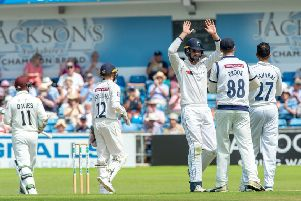Steven Davies bowled by Keshav Maharaj caught behind by Adam Lyth for 37.' (Picture: Bruce Rollinson)