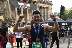 Father Eddie Carr after completing the Ironman UK race