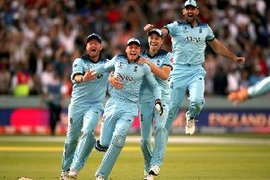 INSPIRATION: England's players, including Yorkshire's Jonny Bairstow, left, begin their celebrations after clinching the World Cup at Lord's on Sunday. Picture: Nick Potts/PA