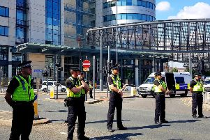 West Yorkshire Police officers managing the Extinction Rebellion protests.