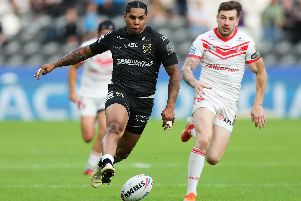 Hull FC's Albert Kelly in action against St Helens earlier this month. (PIC: Ash Allen/SWPix)