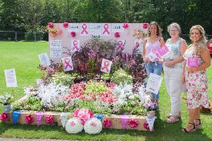 Pinky Taylor, Fiona Huyton and Janet Ellison at the Chorley Flower Show garden