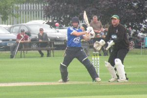 Hanging Heaton captain Gary Fellows hits out during his innings of 63 against Burnmoor in the National T20 Area semi-final. They went on to beat Harrogate in the final when Fellows made another half century. Picture: Richard Kosmala