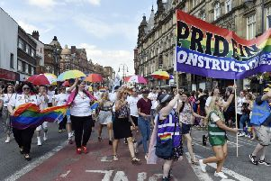 The parade in Vicar Lane for Leeds Pride 2018.