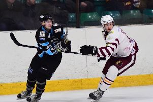 STEPPING UP: Leeds Chiefs' player-coach Sam Zajac believs Joe Coulter, above left, can make the step up and be a hit in NIHL National during 2019-20. Picture courtesy of Colin Lawson.