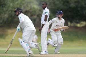 IN THE FRAME Jofra Archer, pictured on Wednesday playing for Sussex 2nd XI as part of his preparations for a possible call-up for the Lord's Test against Australia. Picture: Simon Cooper/PA