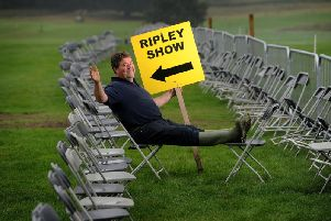 Chairman of Ripley Show Andrew Walmsley puts his feet up before the 170th Ripley Show.