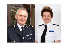 (Left) Derbyshire Police chief constable Peter Goodman has defended deputy chief constable Rachel Swann (Right) after 'hurtful and unnecessary' comments were made about her hairstyle on social media.