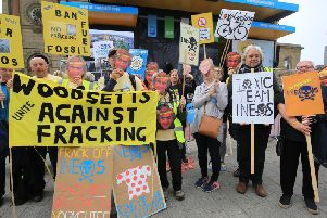 Anti-fracking protesters at this year's Tour de Yorkshire. What are your views on the matter?