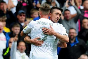 On target: Barry Douglas congratulates Pablo Hernandez after his opener. Pictures: Simon Hulme