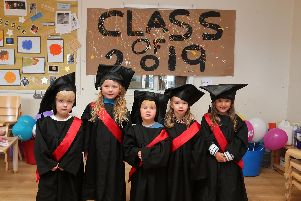 Graduating from the Buzzy Bees are Luca Watson, Maisie Shepherd, Patrick Boynton, Ella Walker and Lilly-Rose Green.