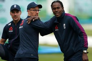 Into Lord's contention: From left, England's Rory Burns, Jack Leach and Jofra Archer.